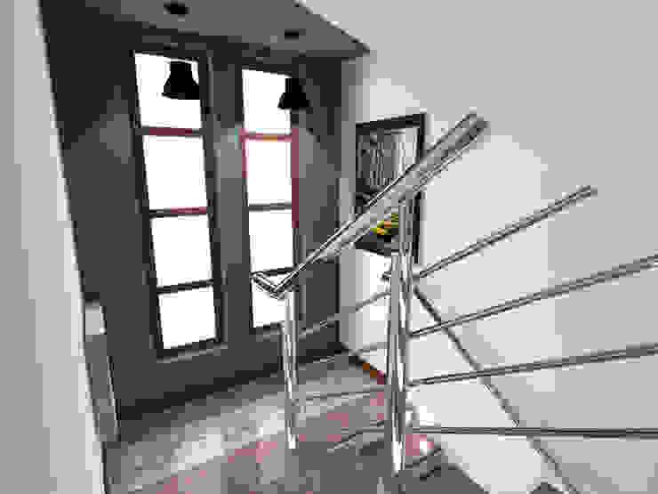 Projekt wnętrza części domu 200 m2 pod Bochnią Industrialny korytarz, przedpokój i schody od Lidia Sarad Industrialny