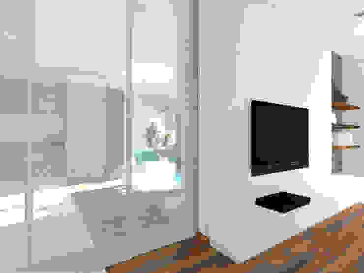 Projekt wnętrza domu 200 m2 Minimalistyczny salon od Lidia Sarad Minimalistyczny