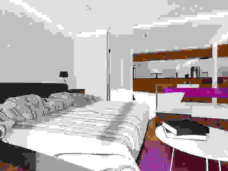 Projekt wnętrza domu 200 m2 Minimalistyczna sypialnia od Lidia Sarad Minimalistyczny