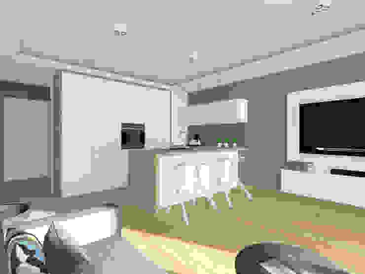 Projekt wnętrza mieszkania 70 m2 w Krakowie Nowoczesna kuchnia od Lidia Sarad Nowoczesny