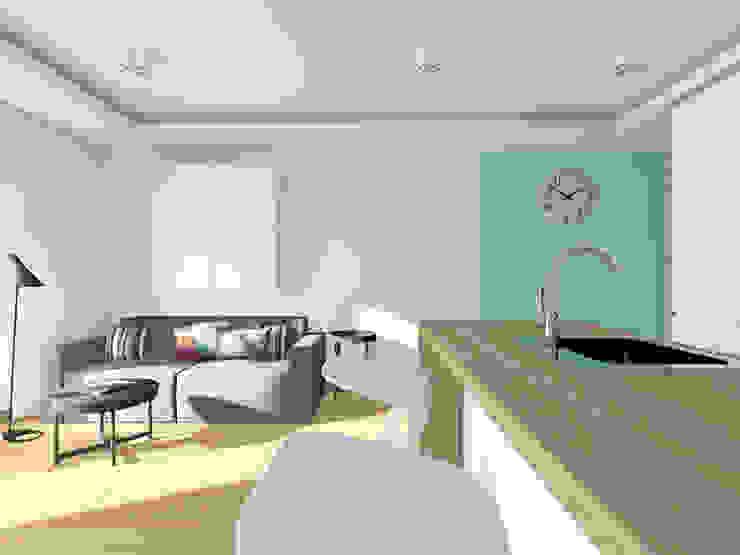 Projekt wnętrza mieszkania 70 m2 w Krakowie Nowoczesny salon od Lidia Sarad Nowoczesny