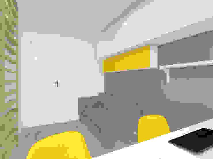Projekt wnętrza mieszkania 70 m2 w Krakowie Minimalistyczne domowe biuro i gabinet od Lidia Sarad Minimalistyczny