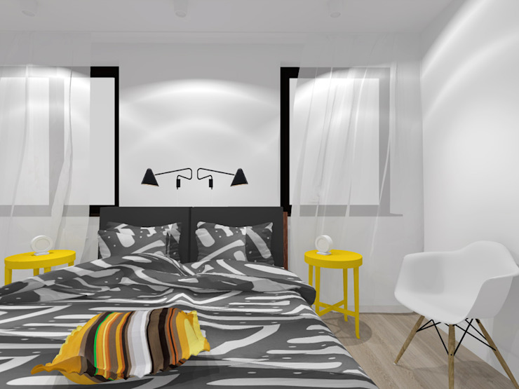 Projekt wnętrza mieszkania 70 m2 w Krakowie Nowoczesna sypialnia od Lidia Sarad Nowoczesny