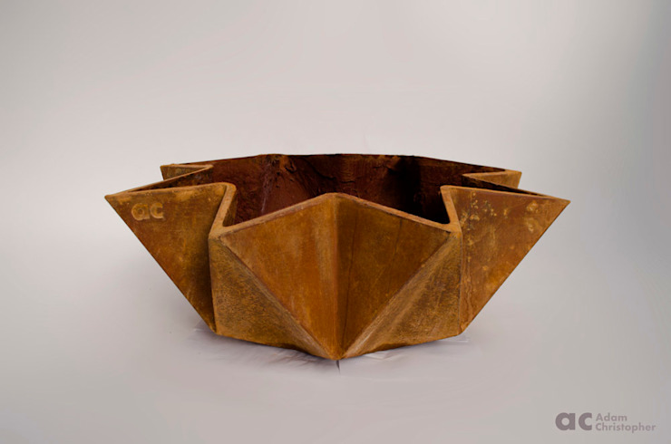Kronen Bowl in Corten Steel Effect Adam Christopher Design Garden Plant pots & vases Concrete Orange
