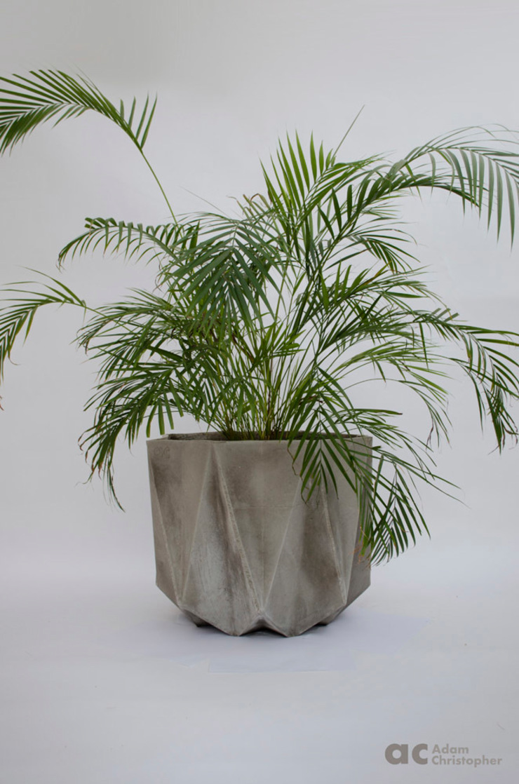 Prisme Planter in warm grey concrete Adam Christopher Design Garden Plant pots & vases Concrete Grey
