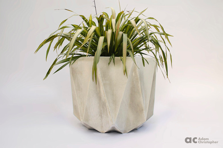 Prisme Planter In White Concrete Adam Christopher Design Garden Plant pots & vases Concrete White