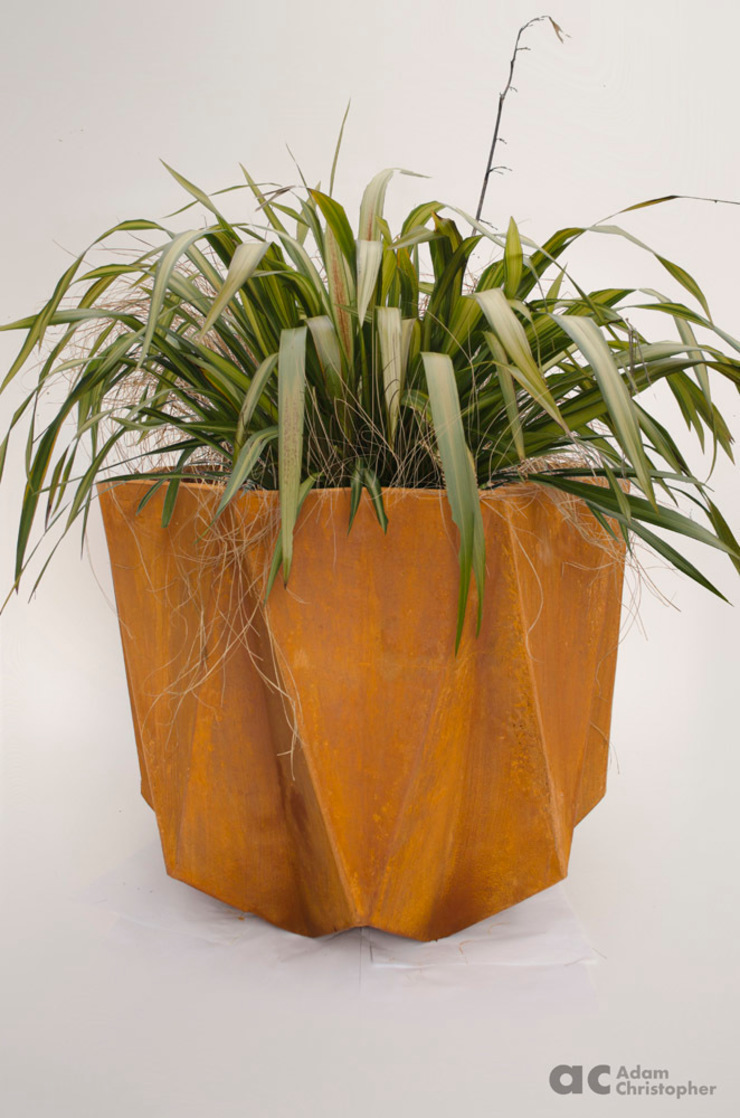 Prisme Planter in Rusted Steel Effect Adam Christopher Design Garden Plant pots & vases Concrete Orange