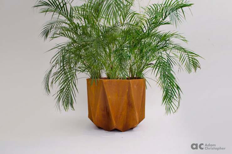 Prisme Planter in Rust Stained Concrete Adam Christopher Design Garden Plant pots & vases Concrete Orange