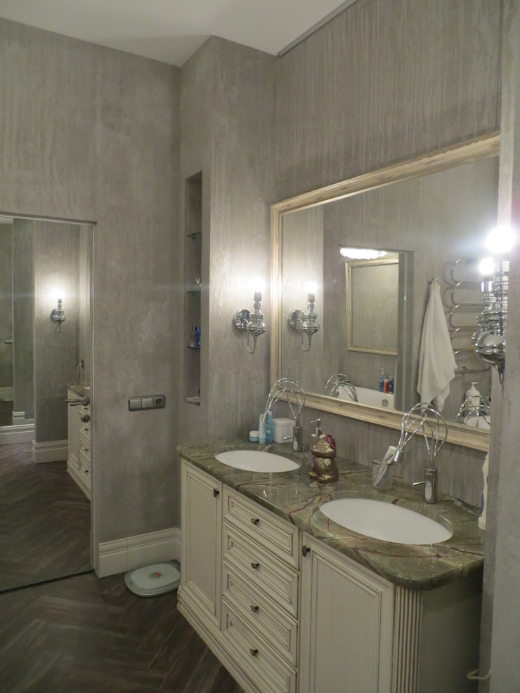 Нескучный серый Ванная комната в эклектичном стиле от PichuginaDesign Эклектичный