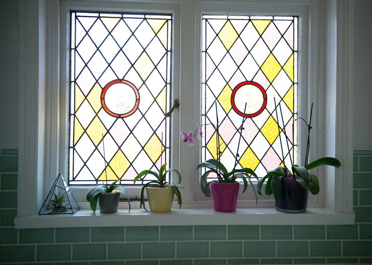 Original Stained Glass Window Modern style bathrooms by Blue Cottini Modern