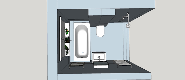 A 3D Plan View of the Space Modern bathroom by Blue Cottini Modern