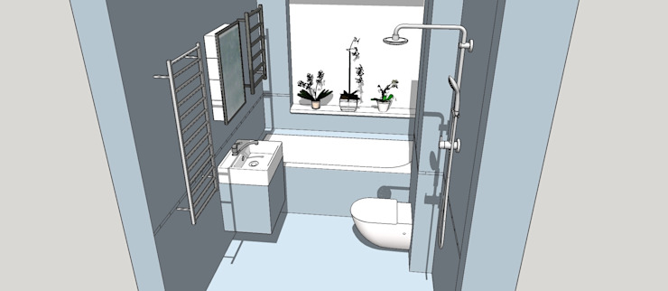 3D Model of the new Bathroom Configuration Modern bathroom by Blue Cottini Modern