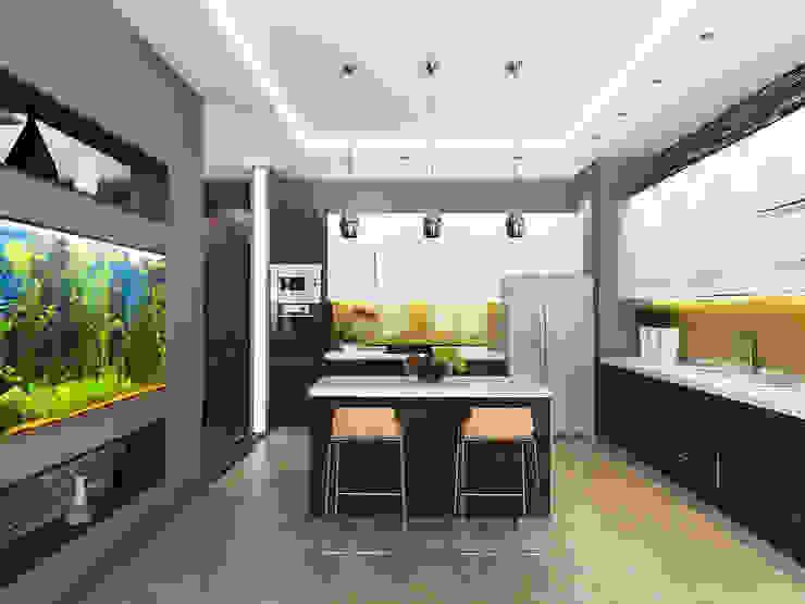 Дизайн коттеджа в Подмосковье Кухня в стиле минимализм от Rustem Urazmetov Минимализм