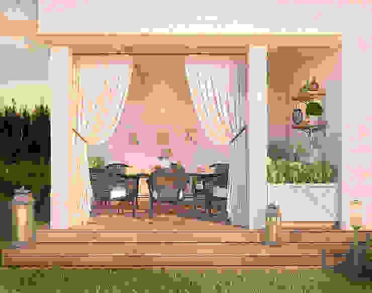 Уютный дом в стиле прованс Терраса в средиземноморском стиле от Дизайн-бюро Анны Шаркуновой 'East-West' Средиземноморский
