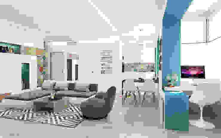 Квартира-студия в Москве Гостиная в стиле минимализм от Rustem Urazmetov Минимализм