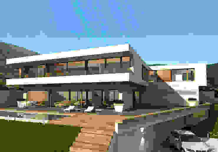 vivienda_unifamiliar_monasterios_3d_1 Casas de estilo moderno de aguilar avila studio Moderno