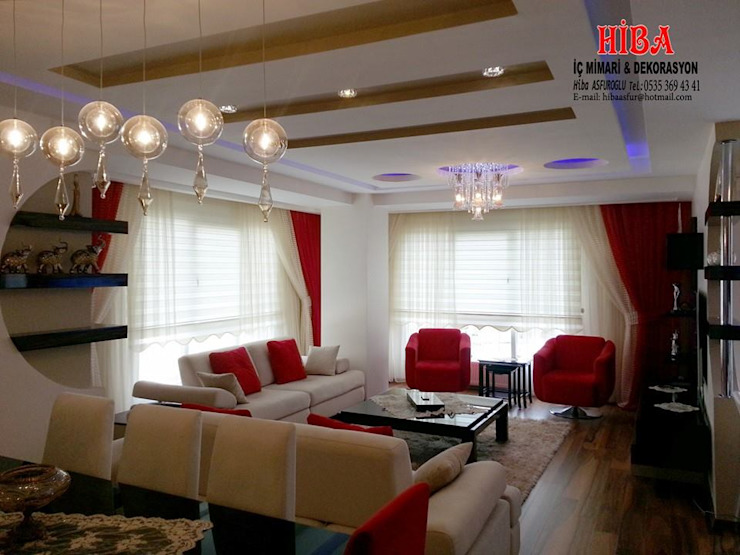 Semih Toplu Evi Modern Oturma Odası Hiba iç mimarik Modern
