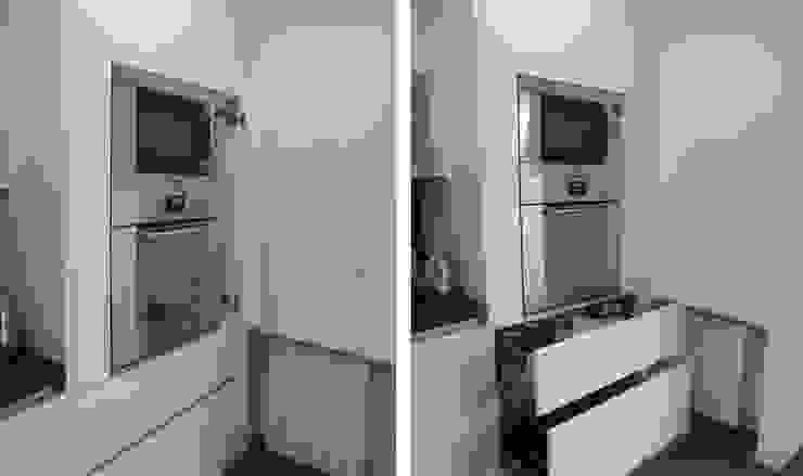 Cocina en acabado lacado blanco satinado con sistema gola Cocinas de estilo minimalista de Cocinasconestilo.net Minimalista