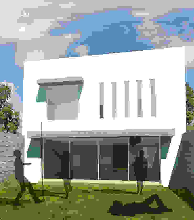 Vista posterior de casa C-QU Casas modernas de ODRACIR Moderno