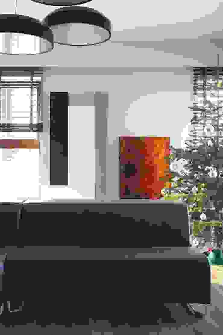 Mieszkanie przy parku Nowoczesny salon od Hanna Pietras Pracownia Architektoniczna Nowoczesny