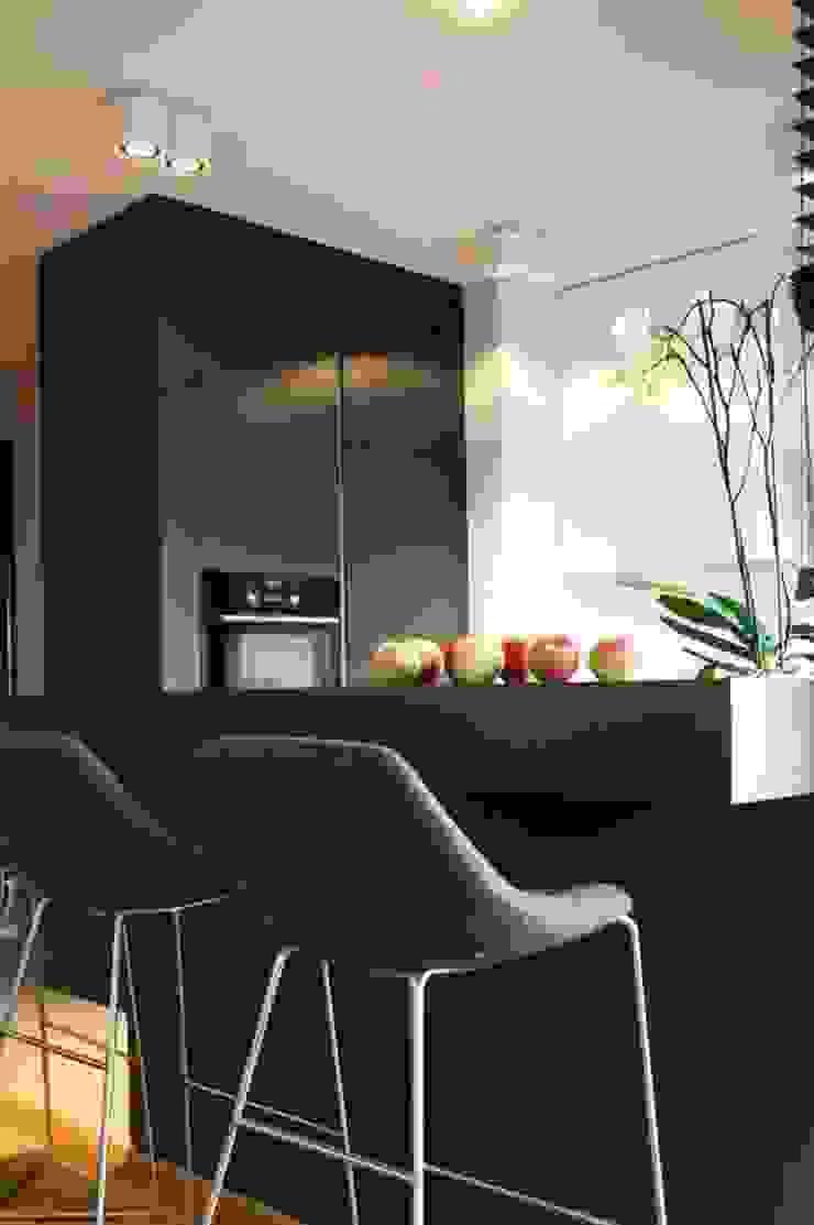 Mieszkanie przy parku Nowoczesna kuchnia od Hanna Pietras Pracownia Architektoniczna Nowoczesny