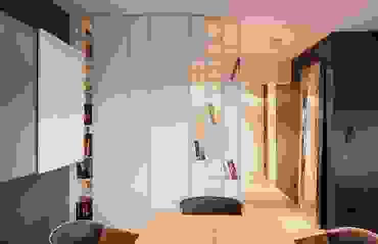 Mieszkanie przy parku Nowoczesny korytarz, przedpokój i schody od Hanna Pietras Pracownia Architektoniczna Nowoczesny