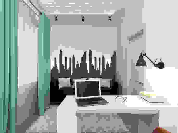 Кабинет в современной квартире: визуализация Рабочий кабинет в стиле модерн от OK Interior Design Модерн