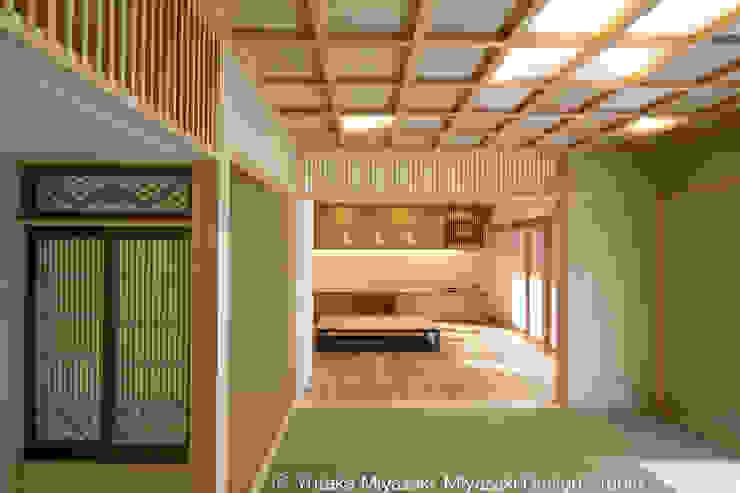 渡り廊下と屋根上デッキの家・和室 オリジナルデザインの リビング の 宮崎豊・MDS建築研究所 オリジナル