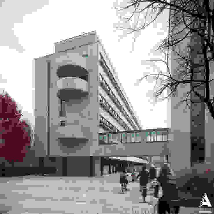 3D-реконструкция дома-коммуны Наркомфина Дома в стиле минимализм от Аrchirost Минимализм