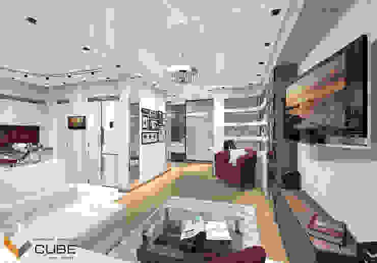 Лаборатория дизайна 'КУБ' Minimalist living room