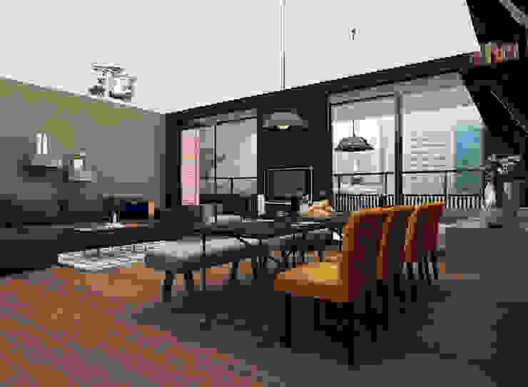 Cozy bachelor loft Moderne woonkamers van Levenssfeer Modern Hout Hout