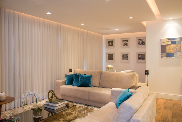 Apartamento Rio Branco Salas de estar modernas por Bibiana Menegaz - Arquitetura de Atmosfera Moderno