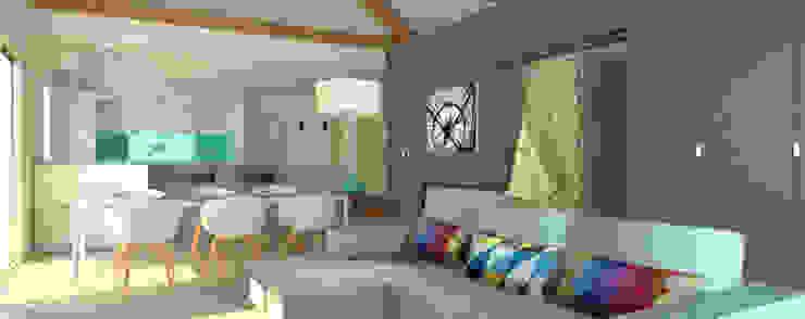 L'espace familiale Salon moderne par APMS architectes Moderne