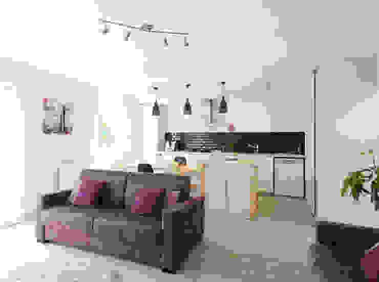 Rénovation d'un appartement à Fontaines sur Saone Salon moderne par Marion Lanoë Moderne