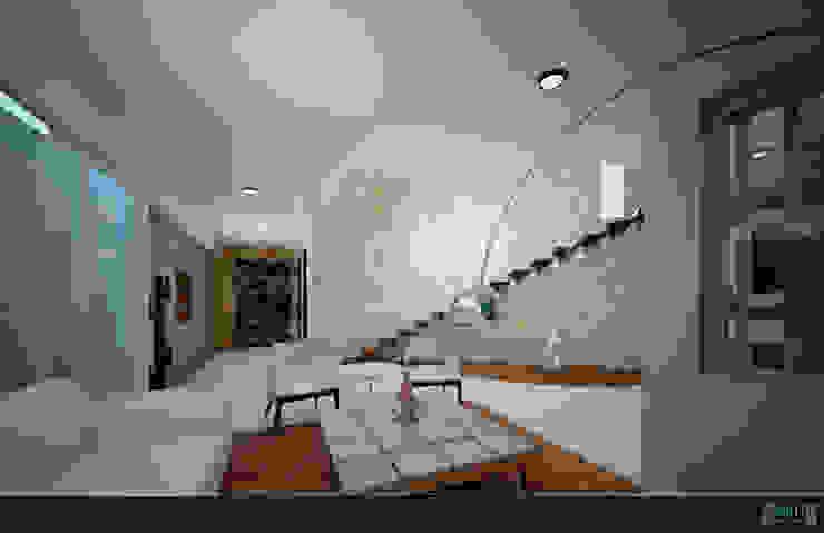 PROYECTO Medina Pasillos, vestíbulos y escaleras modernos de GRH Interiores Moderno Caliza
