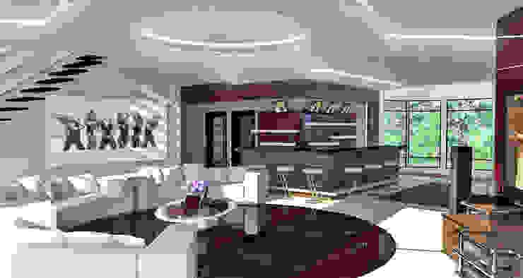 Дизайн проект загородного дома Гостиная в стиле минимализм от 3designik Минимализм