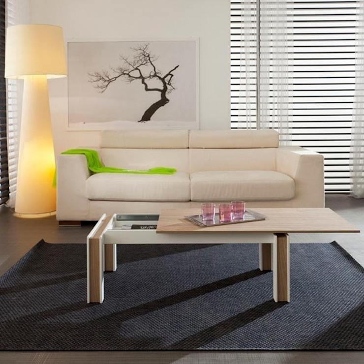 'Letizia' wooden sliding top coffee table by La Primavera homify Living roomSide tables & trays