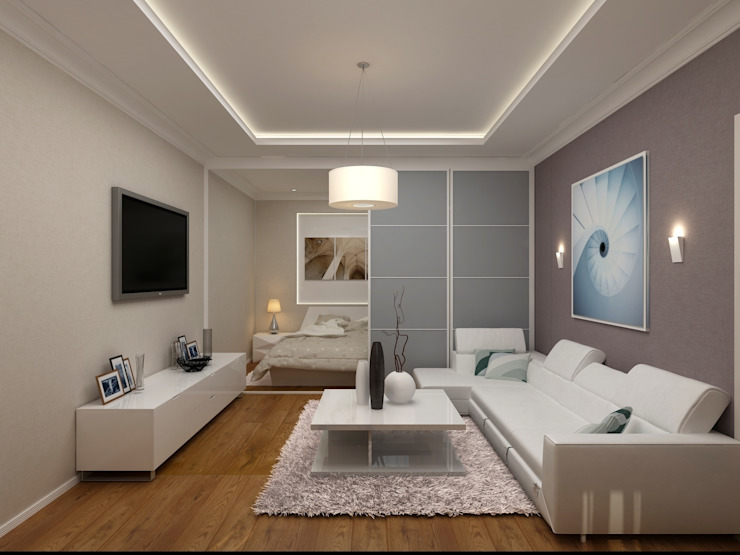 1-но комнатная квартира 61.15m² Гостиная в стиле модерн от PLANiUM Модерн