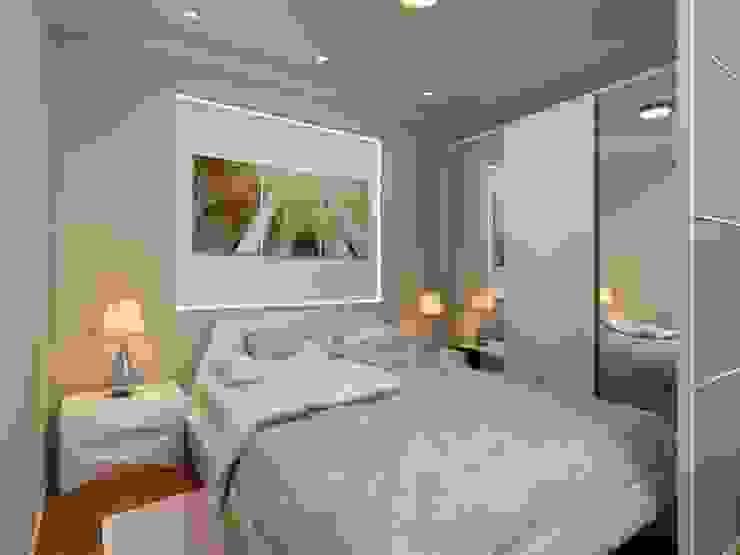 1-но комнатная квартира 61.15m² Спальня в стиле модерн от PLANiUM Модерн