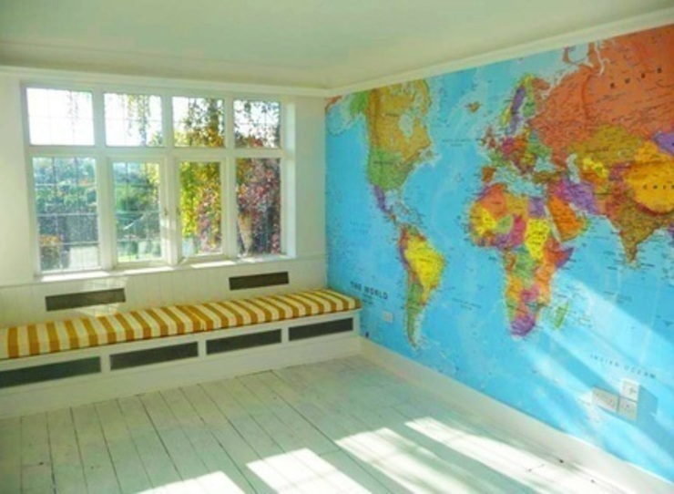 World Map Murals Banner Buzz Interior landscaping