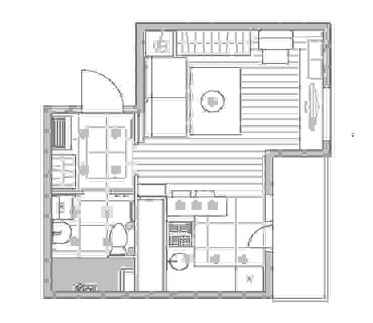 1-но комнатная квартира-студия 29.09m² от PLANiUM Минимализм