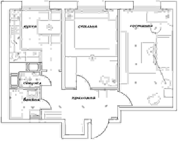 2-х комнатная квартира 54.42m² от PLANiUM Азиатский