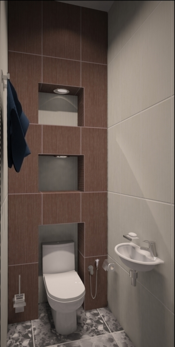 2-х комнатная квартира 54.42m² Ванная в азиатском стиле от PLANiUM Азиатский