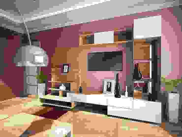 2-х комнатная квартира 54.42m² Гостиная в азиатском стиле от PLANiUM Азиатский
