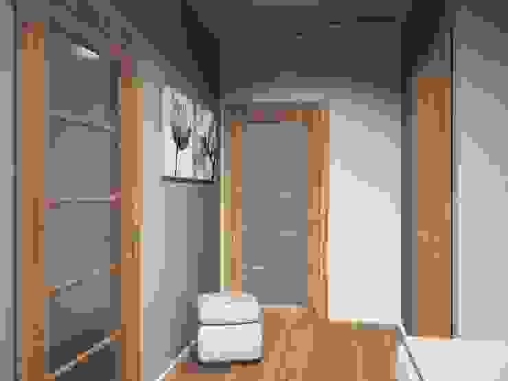 2-х комнатная квартира 54.42m² Коридор, прихожая и лестница в азиатском стиле от PLANiUM Азиатский