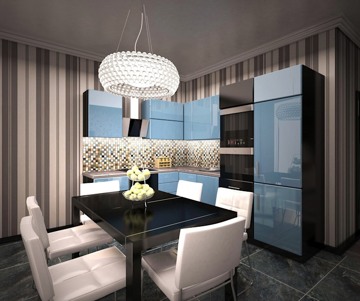 3-х комнатная квартира 75.40m² Кухни в эклектичном стиле от PLANiUM Эклектичный