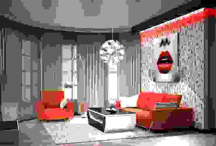 3-х комнатная квартира 75.40m² Гостиные в эклектичном стиле от PLANiUM Эклектичный