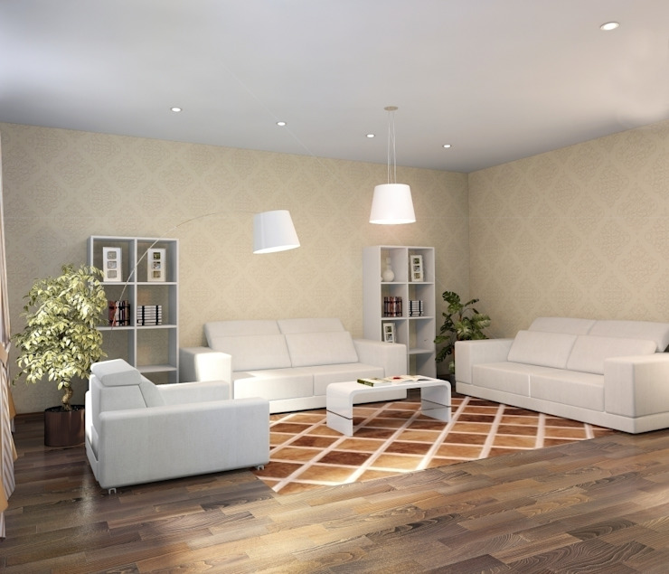 3-х комнатная квартира 112.60m² Гостиная в стиле модерн от PLANiUM Модерн