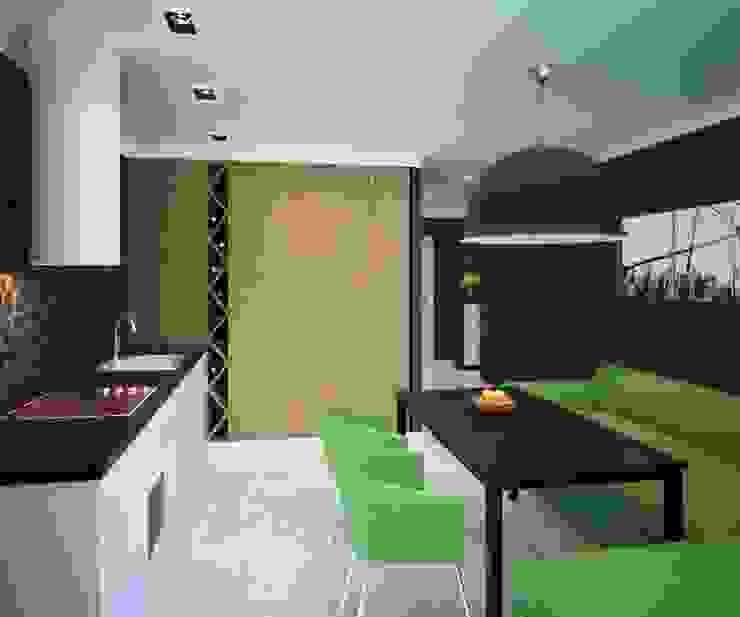 2-х комнатная квартира 81.17m² Кухня в стиле лофт от PLANiUM Лофт
