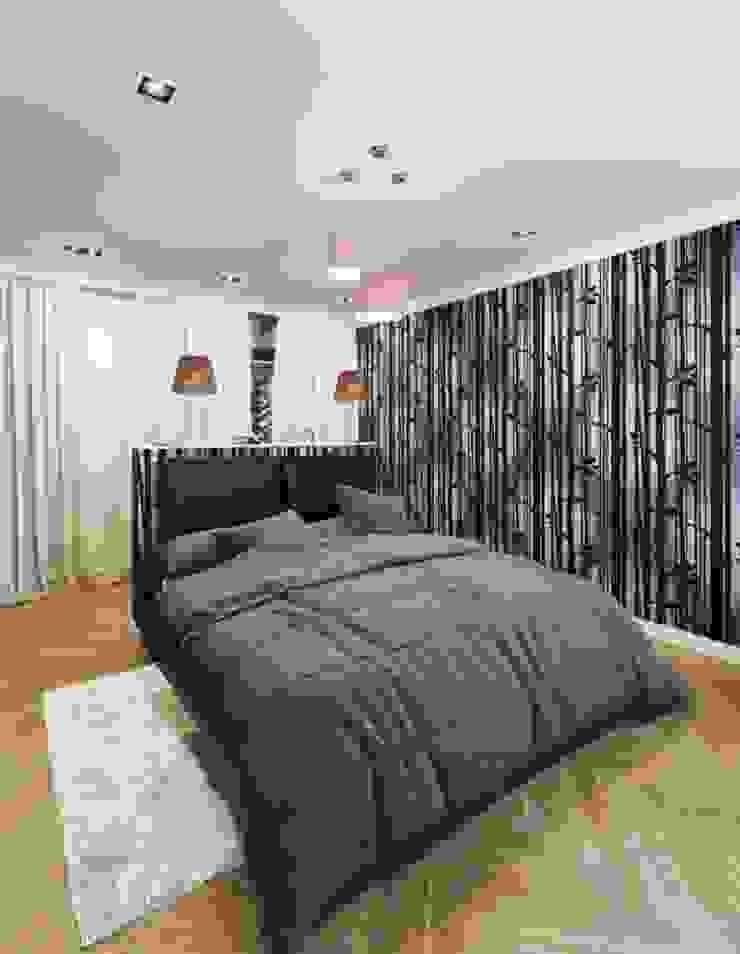 2-х комнатная квартира 81.17m² Спальня в стиле модерн от PLANiUM Модерн